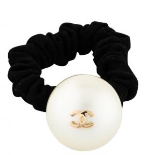Chanel Faux Pearl Black Hair Tie