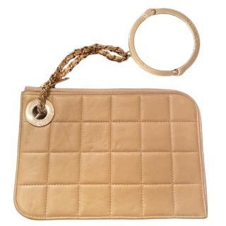 Chanel Camel Timeless Handcuff Leather Clutch