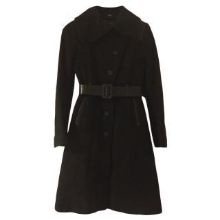 Mackage Black Wool Coat W/ Leather Trim