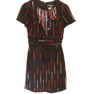 Chanel Black, Red & White Striped Wool Dress