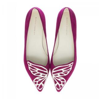 Sophia Webster Bibi Butterfly Flats in Winter Cherry Suede