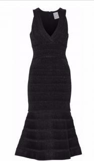 Herve Leger black fit and flare bandage dress