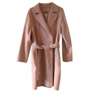 MaxMara blush pink virgin wool wrap coat