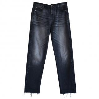 Saint Laurent black high rise jeans with raw hem