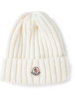 Moncler Womens White Ribbed Beanie