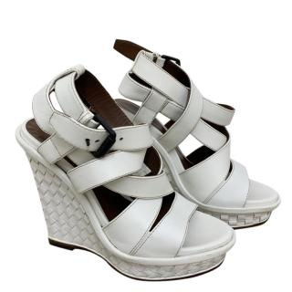 Bottega Veneta White Leather Intrecciato Wedges