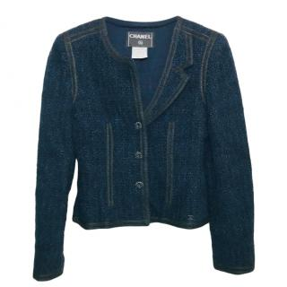 Chanel navy tweed jacket with rhinestone buttons
