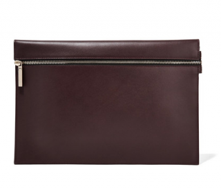 Victoria Beckham Leather Merlot Clutch