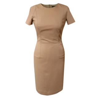 The Row camel cotton and silk blend fitted dress