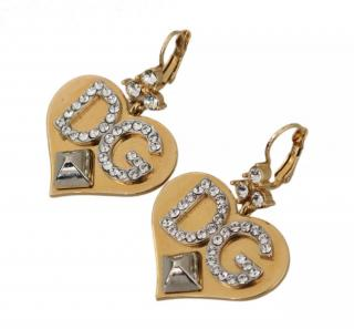 Dolce & Gabbana DG logo hearts brass crystal earrings