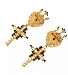Dolce & Gabbana Crosses crystal clip earrings