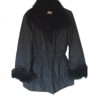Gerard Darel Black Jacket With Fox & Rabbit Fur Cuffs