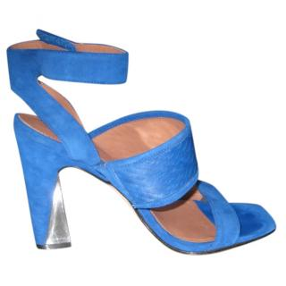 Sigerson Morrison Serpent Stamped Blue Suede Pumps