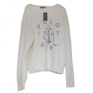 Polo Ralph Lauren White Fleece Sweatshirt