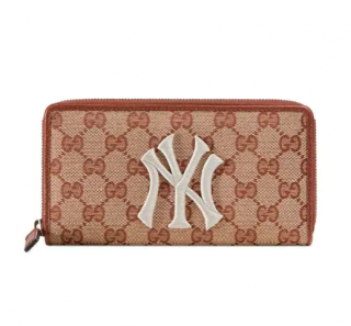 Gucci GG Zip Around Wallet With New York Yankees Patch