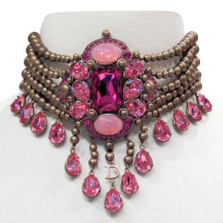 Dior pink crystal chandalier necklace