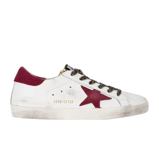 Golden Goose White Burgundy Superstar leather sneakers