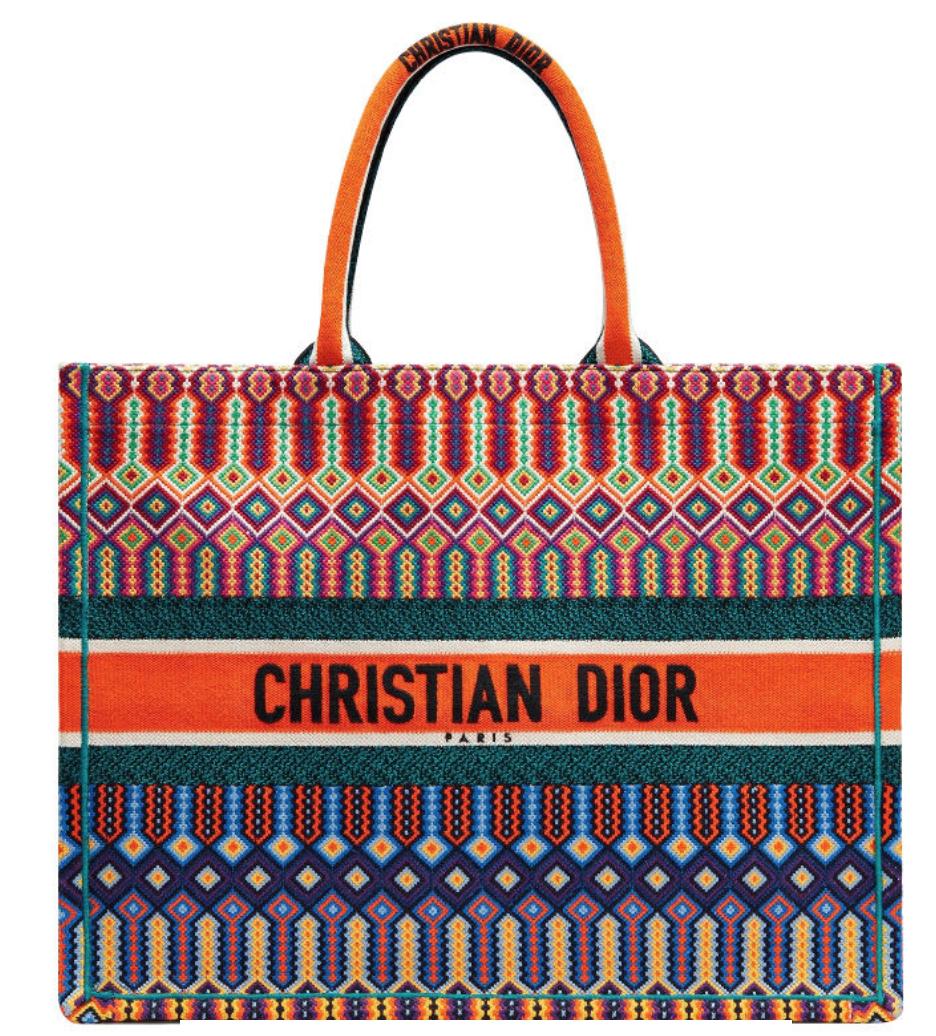 Dior Multi-colored Logo Embroidered Canvas Book Tote