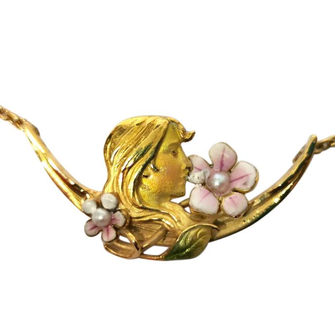 Bespoke Art nouveau enamel maiden's head collector's piece pendant