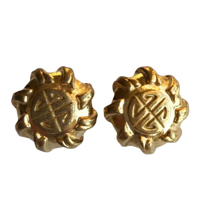 Givenchy Vintage Gold Tone Logo Earrings