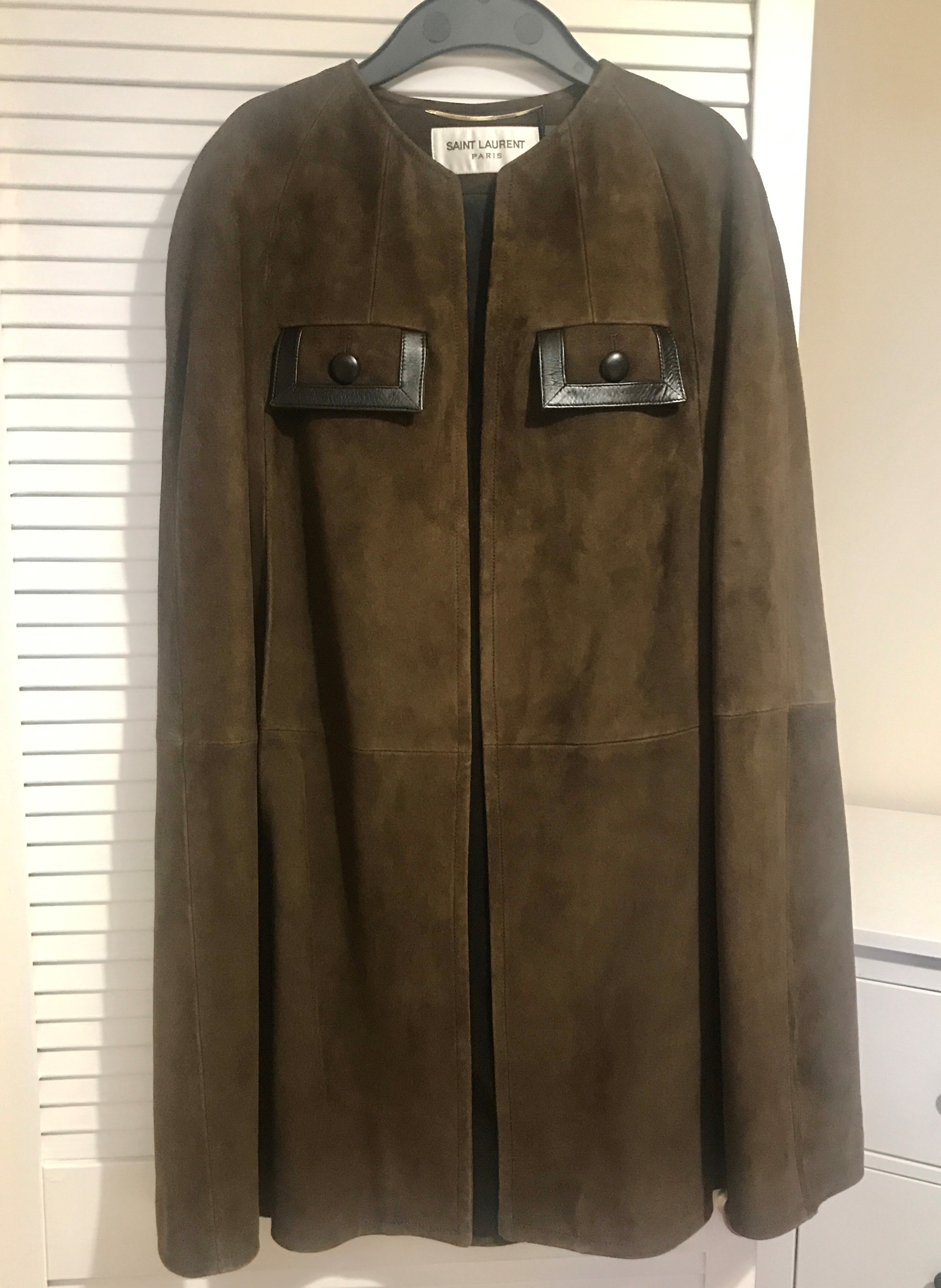 Saint Laurent Brown Suede Cape