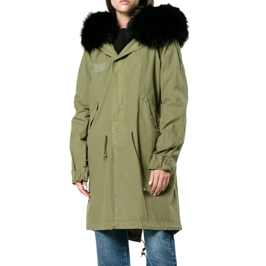 Mr & Mrs Italy Green Parka With Black Shearling Lining