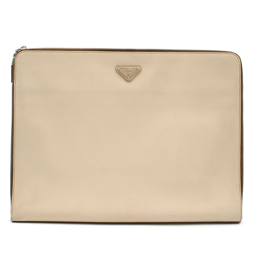 Prada Beige Zip Around Logo Pouch