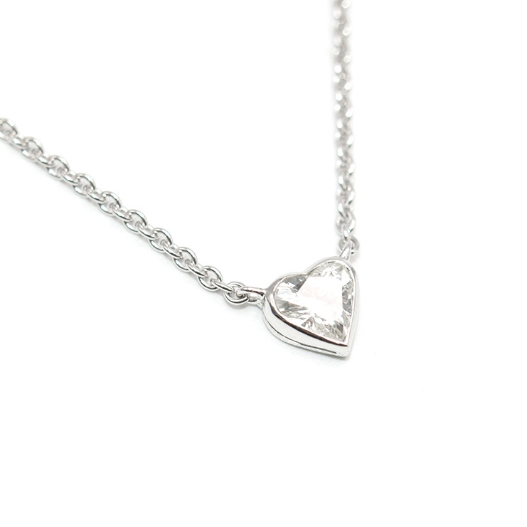 Bespoke 18ct White Gold Diamond Heart Pendant 0.5 Carat