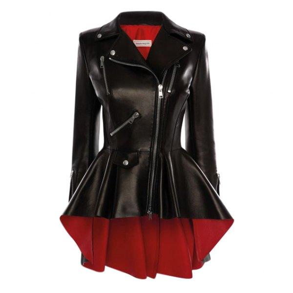 Alexander McQueen Black/Lust Red Leather Biker Jacket - Current