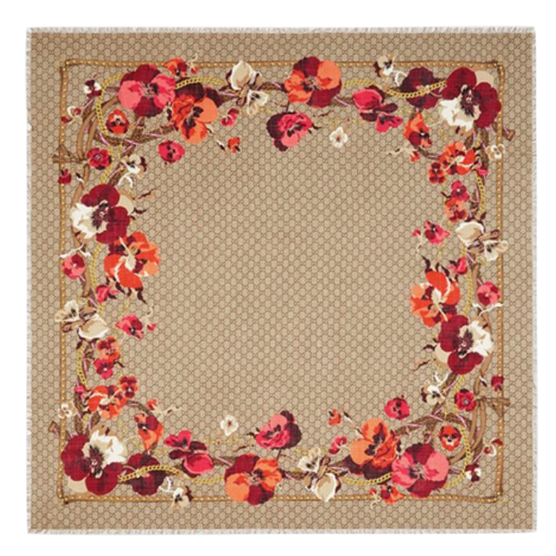 GUCCI Bege floral Blooms wool scarf