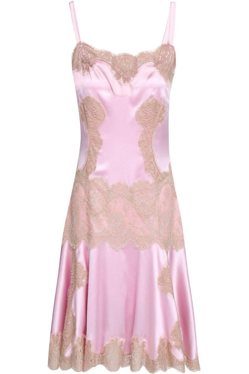 Dolce & Gabbana Blush Pink Silk & Lace Runway Slip Dress