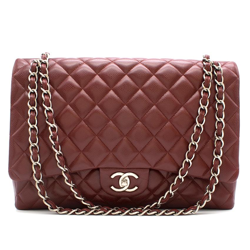 Chanel Burgundy Maxi Classic Flap Bag