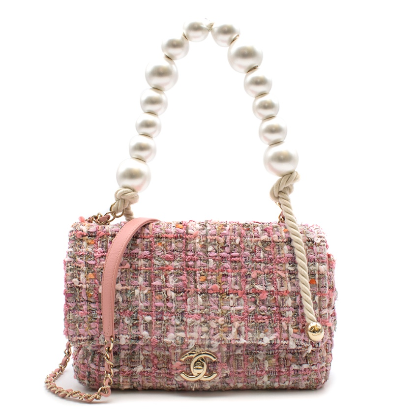 Chanel Pink Tweed Flap Bag With Large Pearl Handle - SS19 Collection