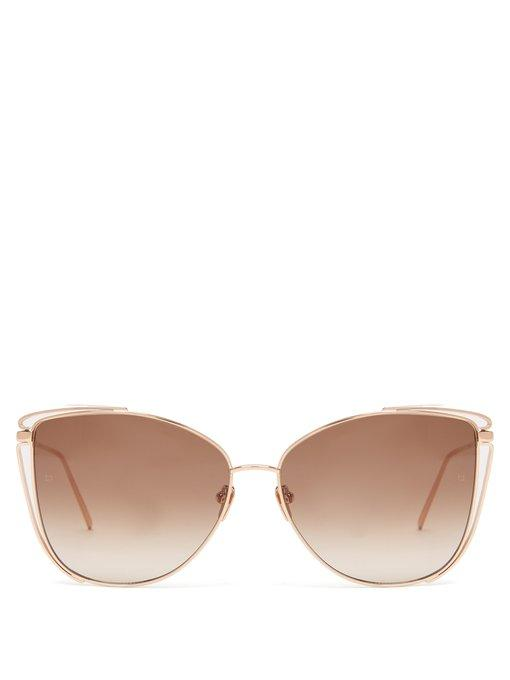 Linda Farrow Khira 809/C5 rose gold sunglasses