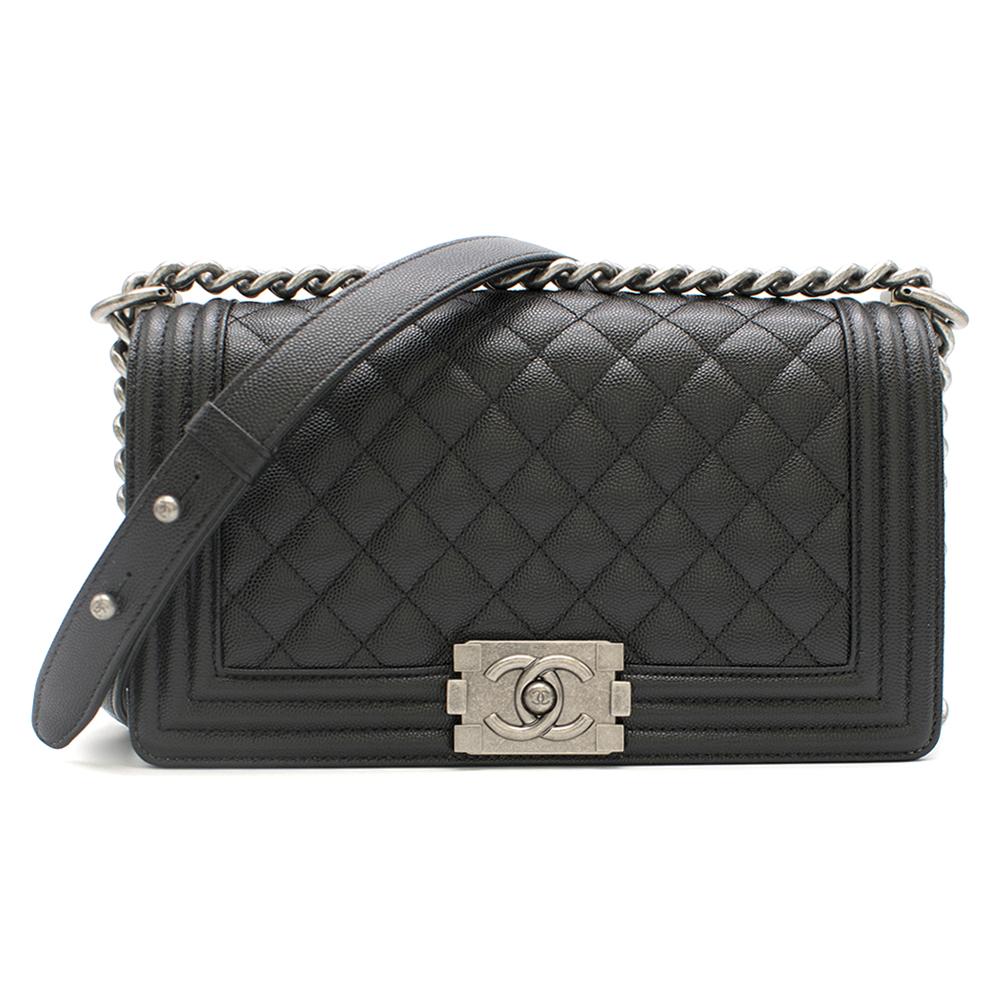 Chanel Black Caviar Leather Boy Bag