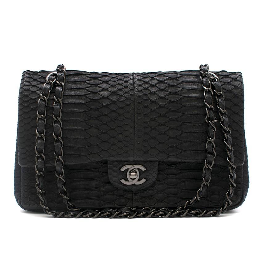 Chanel Black Python Medium Flap Bag