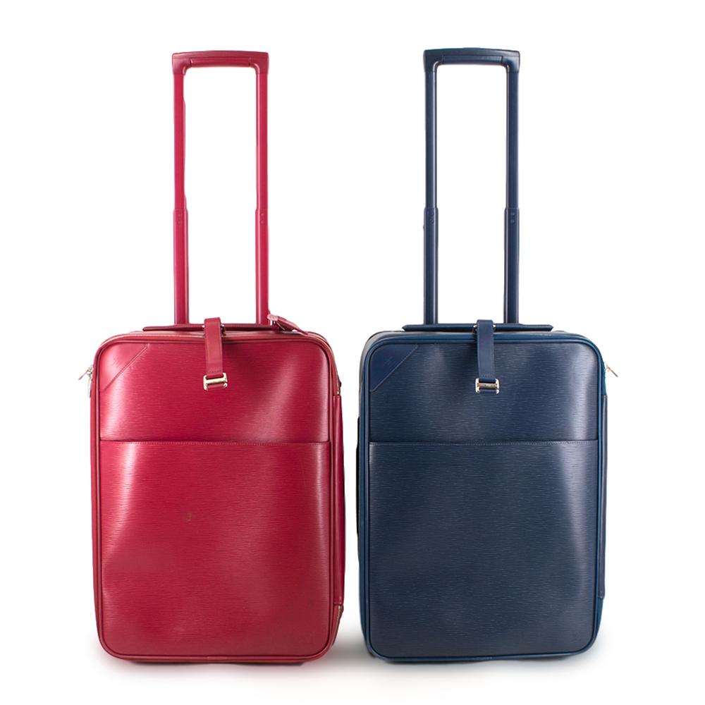 Louis Vuitton Red & Blue Pegase 55 Suitcase Set