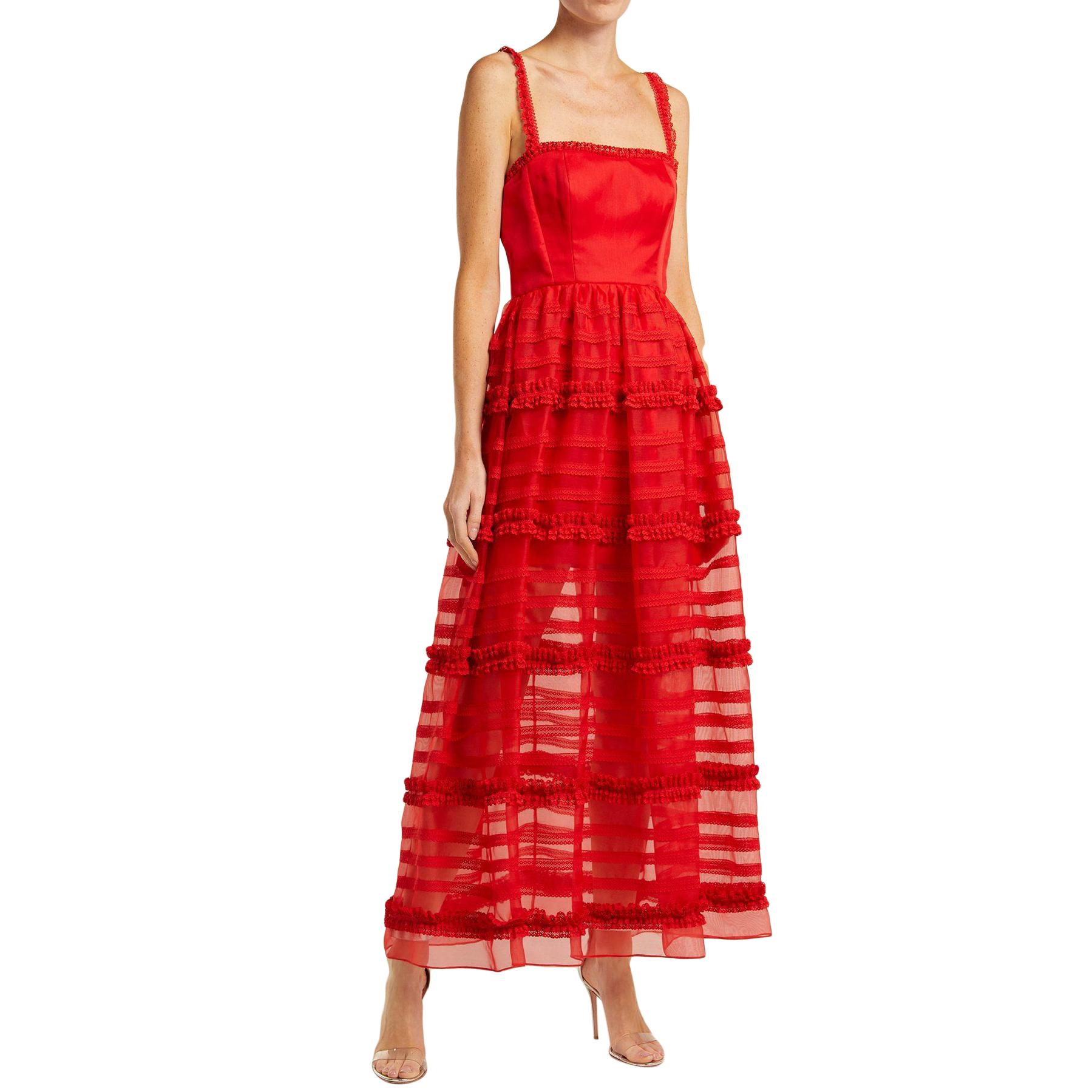 Emilia De La Morena Jade silk and lace gown