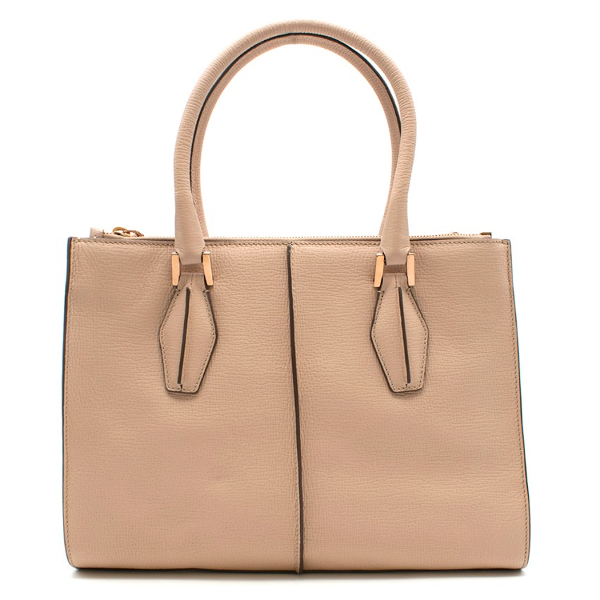 Tod's Nude Leather Tote Bag