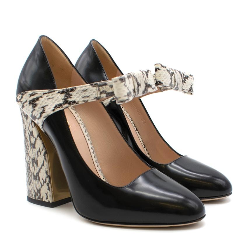 Gucci Bow-Embellished Elaphe & Leather Sandals