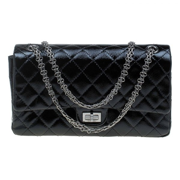 Chanel black patent reissue 2.55 flap bag