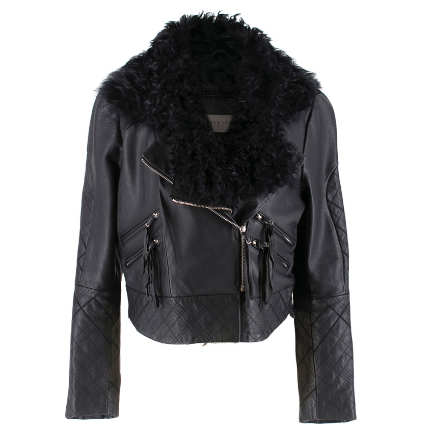 Preen Line Shearling-trimmed Quilted Leather Jacket