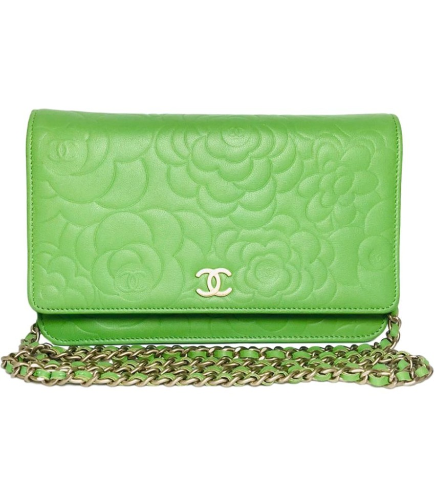 Chanel lime green Camelia embossed wallet on a chain