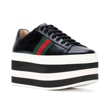 Gucci Peggy Black Platform Sneakers