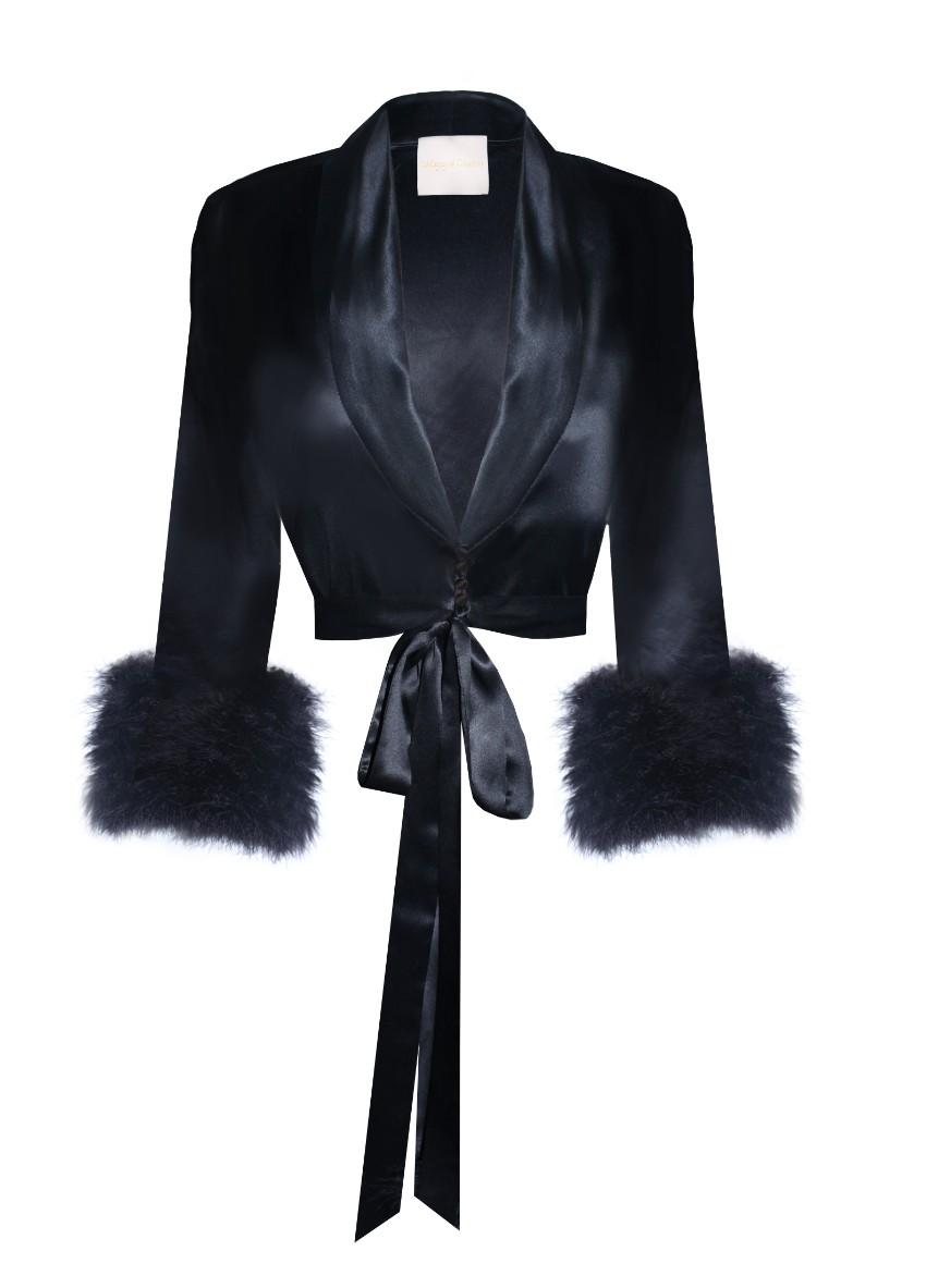 Maguy de Chadirac silk & marabou feather cropped pyjama top