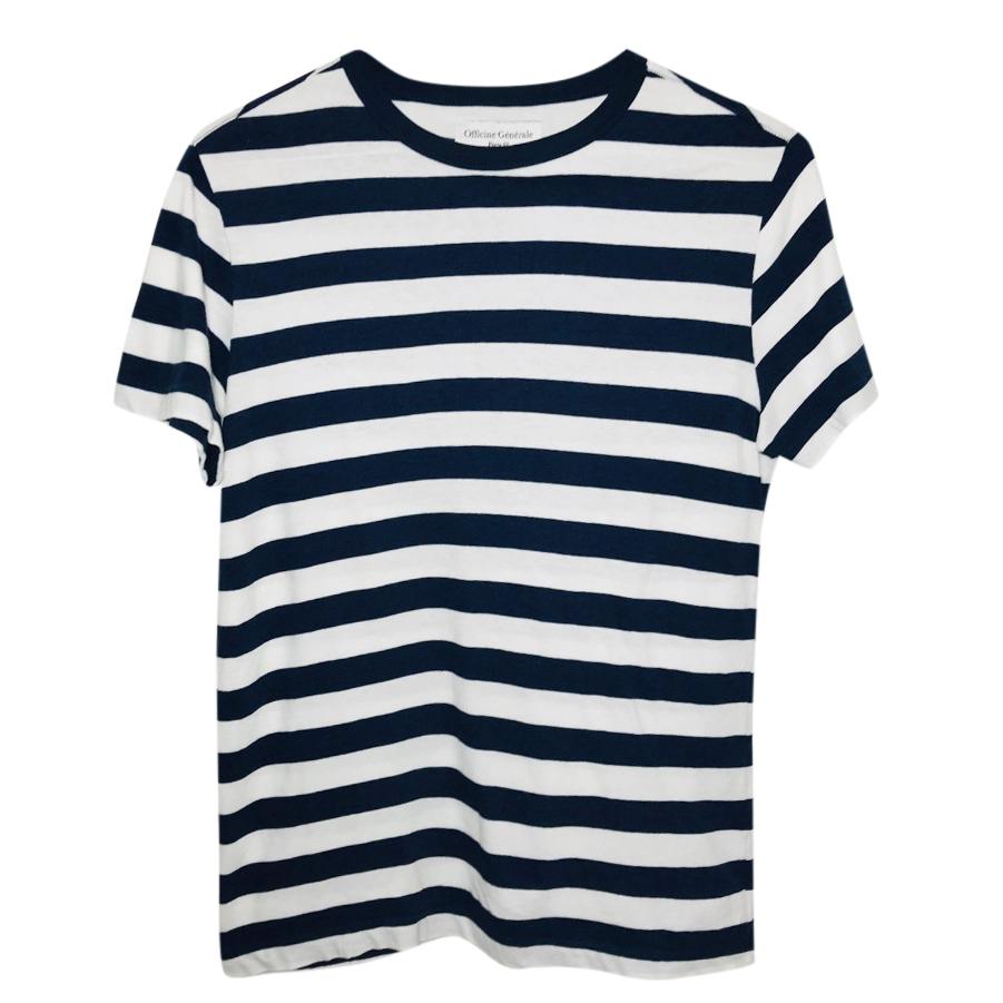 Officine Generale Navy & White Striped T-Shirt