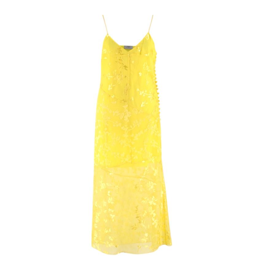 Preen By Thornton Bregazzi Yellow Sheer Floral Midi Dress