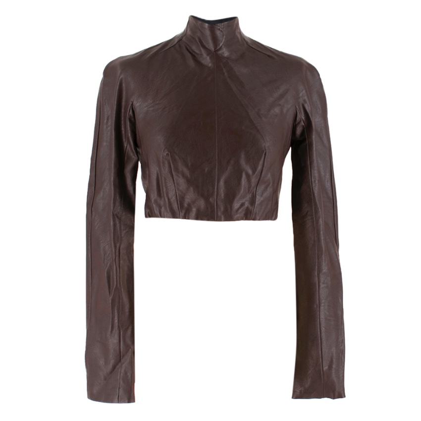 Emilia Wickstead Cropped Brown Leather Open Back Top