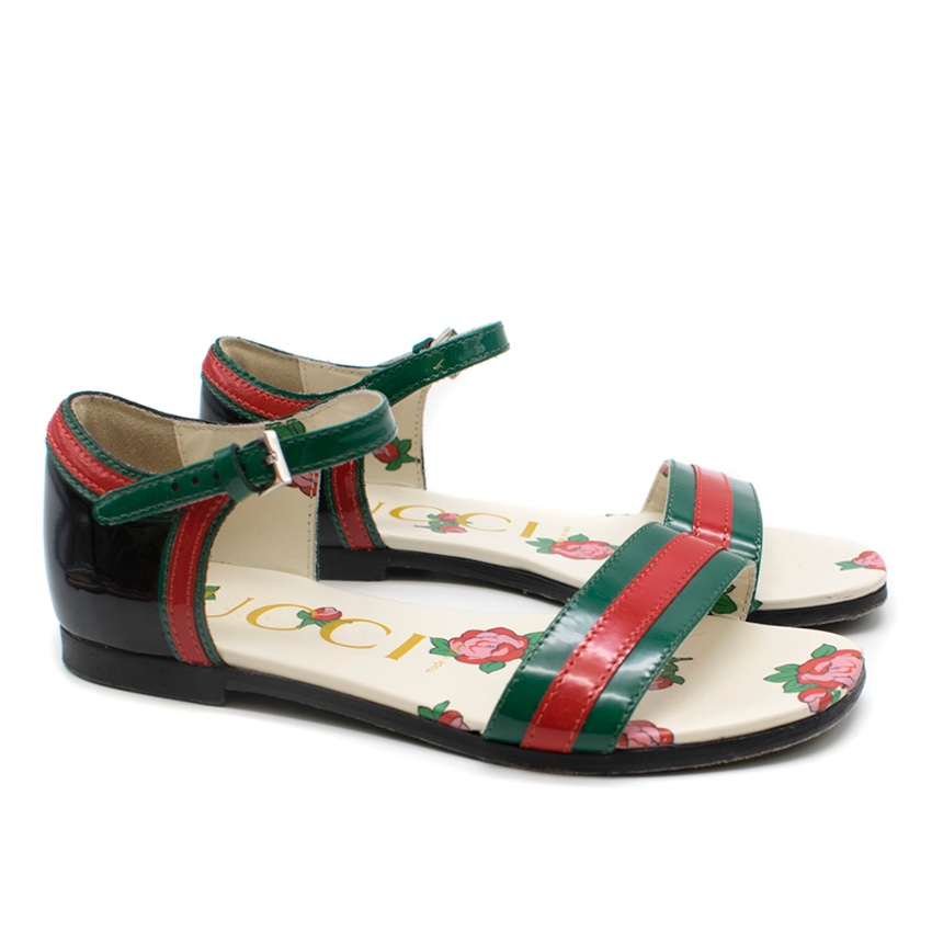 Gucci Kids Abby Patent Leather Red & Green Sandals