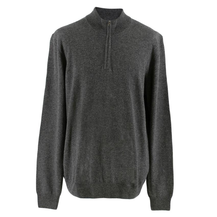 Hackett Grey Merino Wool Blend Half-Zip Jumper